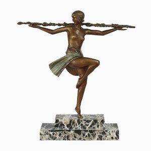 Sculpture Art Déco Danseuse au Thyrse par Pierre Le Faguays, 1920s