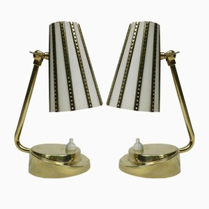 Italian Brass Bedside Lamps, 1950s, Set of 2