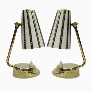 Lámparas de mesa de noche italianas de latón, años 50. Juego de 2