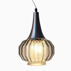 Vintage Onion-Shaped Optical Glass Pendant Lamp from Orrefors, 1970s