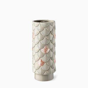 Handdekorierte Plumage Vase in Grau & Rosa von Cristina Celestino für BottegaNove