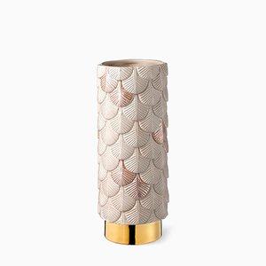 Jarrón Plumage en rosado mate y brillo decorado a mano de Cristina Celestino para BottegaNove