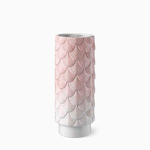 Plumage Hand-Decorated White and Pink Faded Vase by Cristina Celestino for BottegaNove