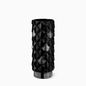 Jarrón Plumage en negro brillante decorado a mano de Cristina Celestino para BottegaNove