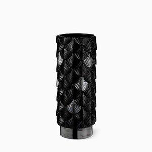 Vaso Plumage nero lucido e luster decorato a mano di Cristina Celestino per BottegaNove