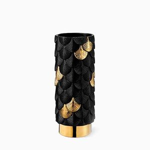 Plumage Hand-Decorated Black Satin & Gold Vase by Cristina Celestino for BottegaNove