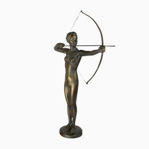 Deutsche Art Deco Jagdgöttin Diana Figur aus Metall, 1930er