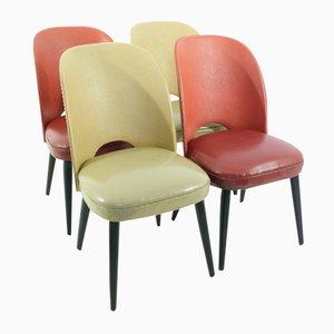Sillas Mid-Century en rojo y beige, años 50. Juego de 4