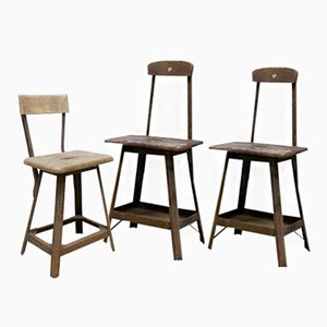 Vintage Industrial Bar Stools, 1930s, Set of 3