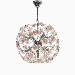 Lámpara de araña Sputnik italiana de vidrio, años 70