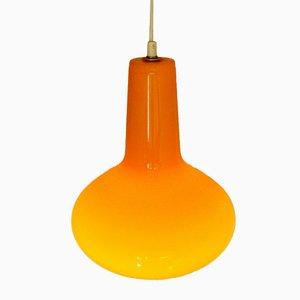 Lámpara colgante italiana de vidrio naranja de Massimo Vignelli para Venini, años 60