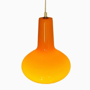 Lampe à Suspension Orange en Verre par Massimo Vignelli pour Venini, Italie, 1960s
