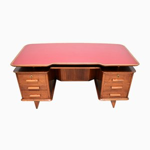 Italian Walnut & Red Formica Desk, 1950s
