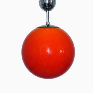 Lámpara colgante esférica de cristal de Murano naranja, años 60