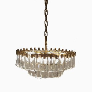 Brass and Crystal Chandelier by Oswald Haerdtl for Lobmeyr, 1950s