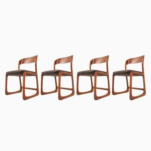 Französische Mid-Century Esszimmerstühle von Baumann, 4er Set
