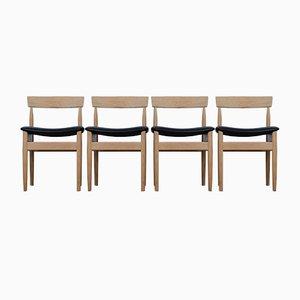 Chaises de Salon Mid-Century en Chêne Massif, Set de 4