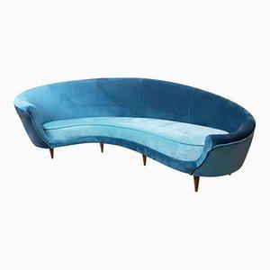 Italienisches Gebogenes Sofa aus Samt, 1950er