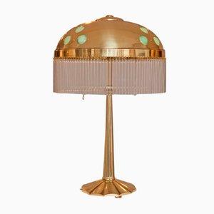 Lampada da tavolo Art Nouveau con elementi in vetro opalino, inizio XX secolo