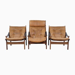 Mid-Century Easy Chairs by Torbjørn Afdal for Bruksbo, Set of 3
