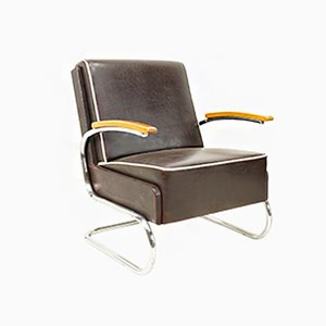 Black-Brown Leather Cantilever Armchair from Mücke Melder, 1930s