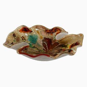 Cuenco Mid-Century de cristal de Murano salpicado multicolor