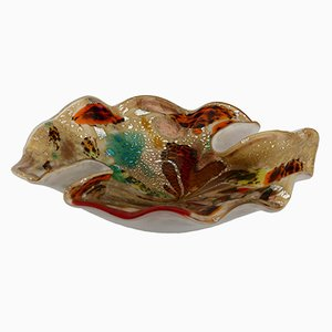 Mid-Century Flecked Multicolored Murano Glass Bowl