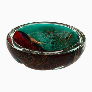 Cuenco italiano Mid-Century de cristal de Murano en rojo y verde con salpicaduras doradas
