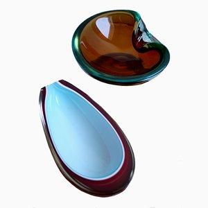 Cuencos de vidrio de cristal de Murano, años 60. Juego de 2