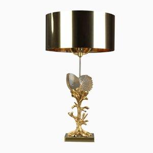 Vergoldete Metall Lampe, 1970er