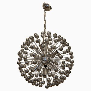Lámpara de araña Sputnik italiana era espacial de cromo plateado y plástico, años 70