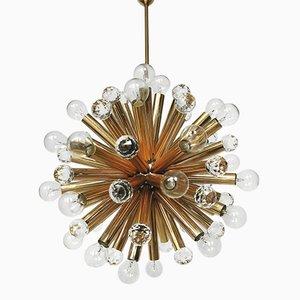 Lámpara colgante de latón dorado con esferas de Swarovski de Ernst Palme, años 60
