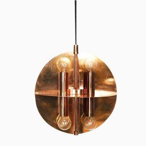 Lampada a sospensione in rame color oro con 8 luci, anni '70