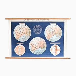 Cartel escolar del mapa del mundo, años 60