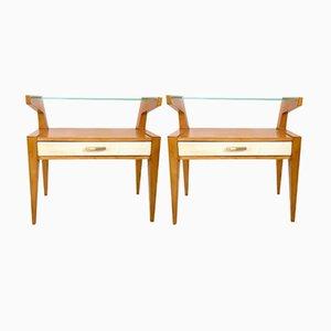 Comodini in legno di acero e pergamena, anni '50, set di 2