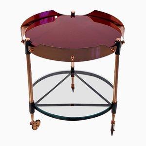 Table à Plateau Vintage en Laiton, Métal et Verre, Italie