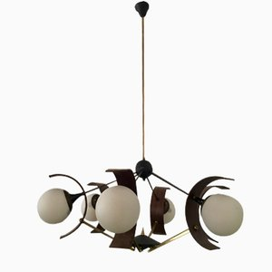 Vintage Italian Brass and Painted Aluminum Pendant with Six Lights