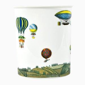 Vintage Vase mit Heißluftballon Deko von Piero Fornasetti für Rosenthal