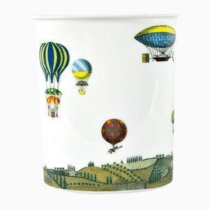 Vintage Vase with Hot-Air Balloon Decor by Piero Fornasetti for Rosenthal