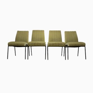 Mid-Century Metal & Suede Chairs, Set of 4