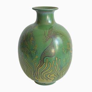 Große Keramikvase mit Meeresfauna Deko von Onestini Giacomo, 1970er