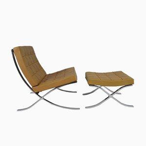 Silla Barcelona vintage con otomana de Ludwig Mies van der Rohe para Knoll International