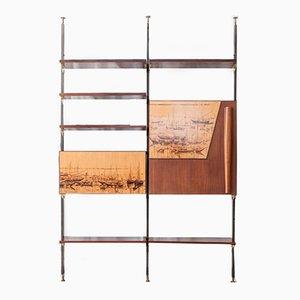 Unidad de almacenamiento vintage de madera maciza, metal y latón