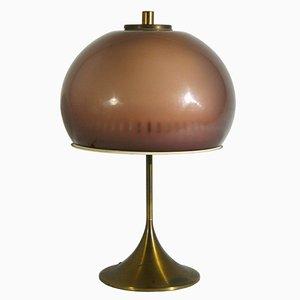 Lámpara de mesa italiana de plexiglás y latón de Lamter, años 50