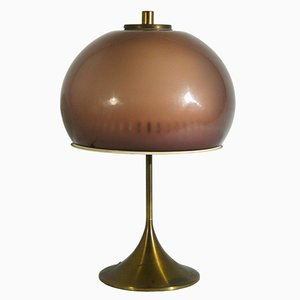 Lampe de Bureau en Perspex & Laiton de Lamter, Italie, 1950s