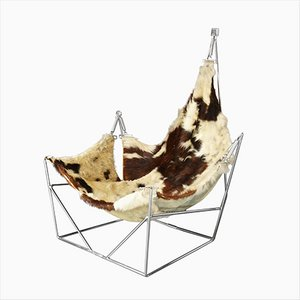Vintage Sculptural Metal and Cowhide Sling Lounge Chair