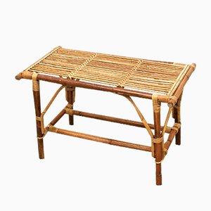 Mesa baja de jardín Mid-Century de mimbre