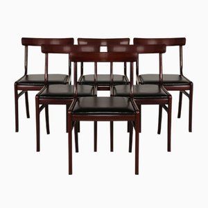 Vintage Danish Rungstedlund Mahogany & Leather Chairs by Ole Wanscher for Poul Jeppesen, Set of 6