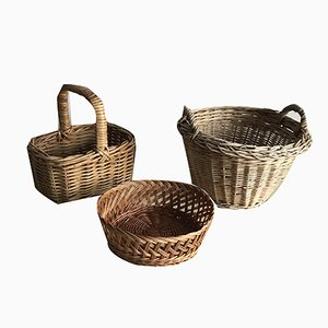 Wicker Baskets, 1960s, Set of 3