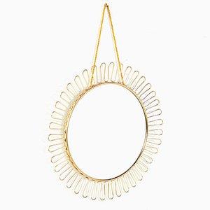 Espejo modelo Sonne circular con marco de latón de Josef Frank para Svenskt Tenn, años 50